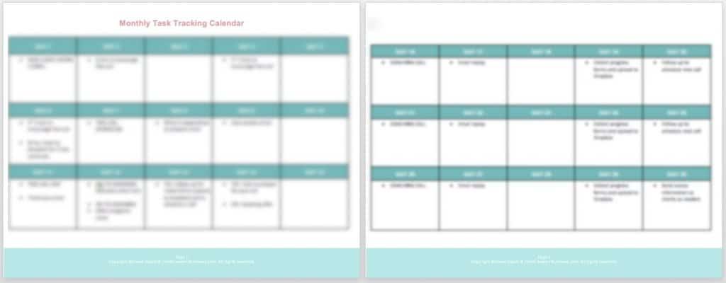 task tracking calendar