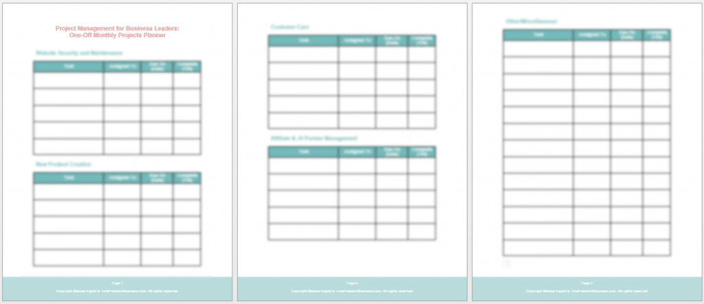project management one off monthly planner
