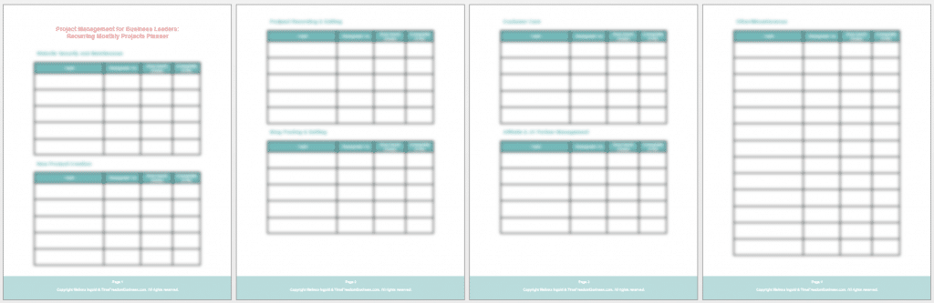 project management recurring monthly projects planner