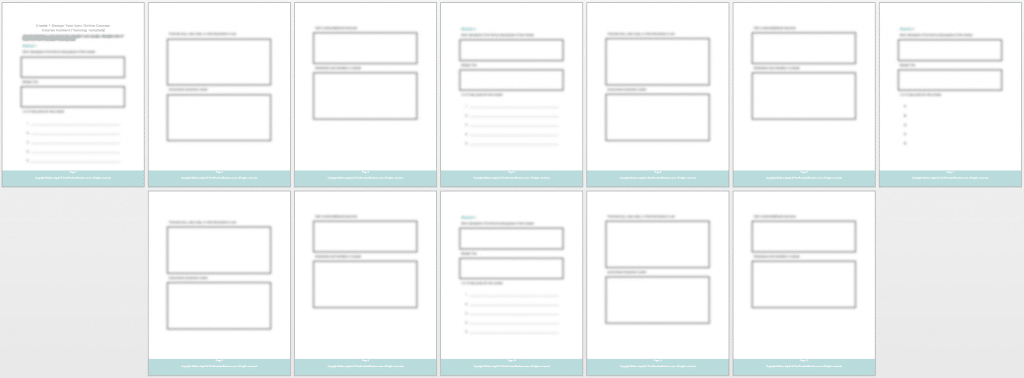 epic course - content planning template